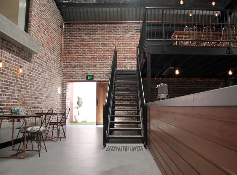 Stairway to upper mez